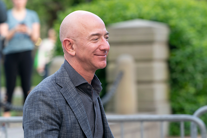 New York, NY - May 15, 2019: Jeff Bezos arrives at the Statue Of Liberty Museum Opening Celebration at Battery Park. (By Lev Radin)